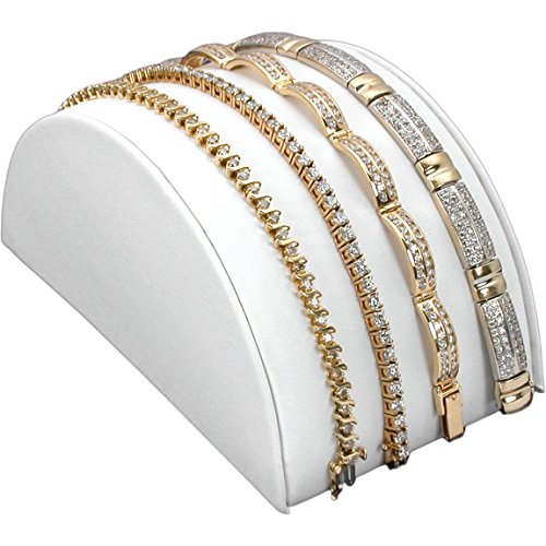 Half Moon Bracelet Display - White Leather Bracelet Half Moon Display Ramp Stand 3