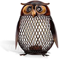 Tooarts Owl Shaped Metal Coin Bank Box Handwork Crafting...