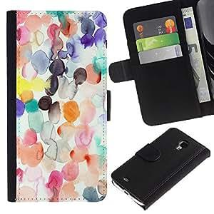 For Samsung Galaxy S4 Mini i9190 MINI VERSION!,S-type® Watercolor Spots Pastel Abstract Kids Art - Dibujo PU billetera de cuero Funda Case Caso de la piel de la bolsa protectora