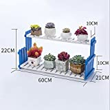 Flower racks Flower Racks Balcony Solid Wood Flower Racks Multiple Layers Can Be Assembled Plant Shelf (Three Colors Optional) ( Color : Blue )