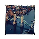 YOLIYANA London Durable Square Chair Pad,London Aerial View with Tower Bridge at Sunset Internatinal Big Old UK British River Decorative for Bedroom Living Room,One Size