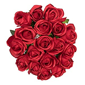 Royal Imports Red Artificial Faux Fake Silk Rose Bunch Flower Bouquet, Weddings, Valentines, Wreaths, Crafts, 18 Heads (1.5 Dozen - 18 Stems) 111