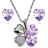 Lucky Love Heart Clover Swarovski Elements Crystal Rhodium Plated Necklace Earrings Set - Purple