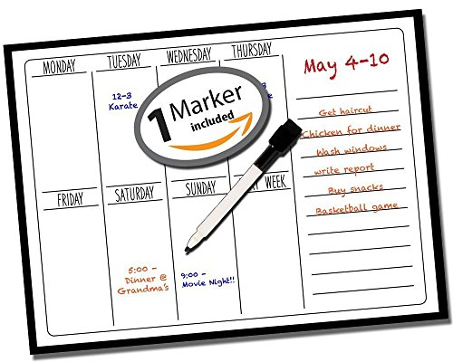 "Dry Erase Weekly Calendar ● Weekly Calendar ● Weekly Organizer ● Wall Calendar ● Wall Planner ● Office Calendar ● Menu Board ● Non Magnetic ● Use w/ Dry Erase Markers (1 Included) ● 15"" x 11"" Inches"