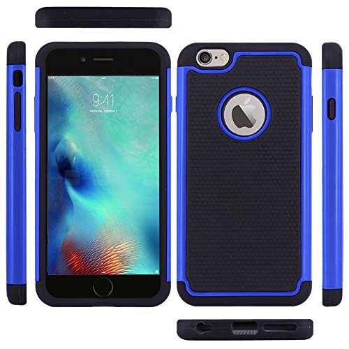 Fall fuer iPhone 6S Plus - SODIAL(R) iPhone 6S Plus Case, iPhone 6 Plus Case, Tropfen Schutz Ruestung Hybrid Doppelschicht Schutzhuelle fuer iPhone 6S Plus/ iPhone 6 Plus 5.5 Inch, Blau