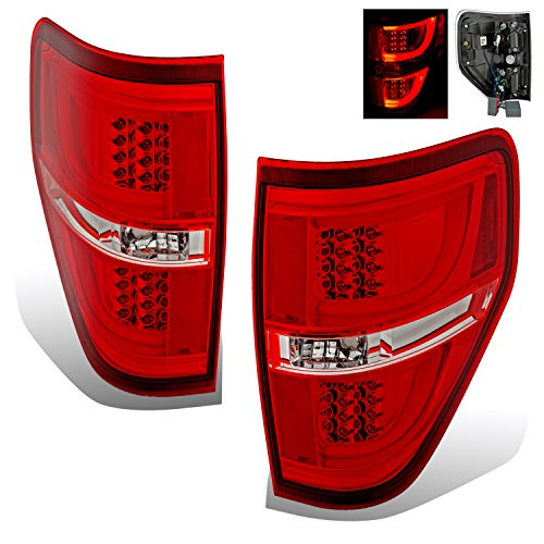 SPPC Red/Clear LED Tail lights Set For Ford F-150 Version 2 - Passenger and Driver Side