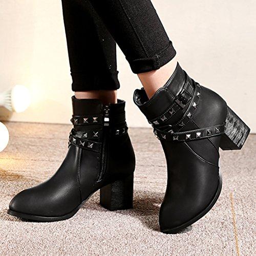 AIYOUMEI Damen Reißverschluss Stiefeletten mit Schnalle und Nieten Blockabsatz High Heels Kurzschaft Stiefel Schwarz