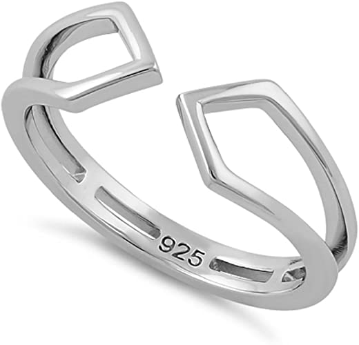 Heartbeat Sterling Silver Quadrilateral Kites Thumb,Index Finger Adjustable Toe Ring Size 3-13