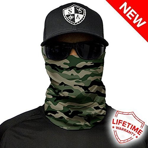 Salt Armour Face Mask Shield Protective Balaclava Bandana MicroFiber Tube Neck Warmer Green Camo ()