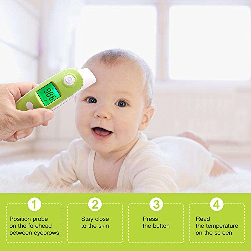 BuySevenSide Ear Thermometer with Forehead Function,Digital Laser Infrared Thermometer Temperature Gun Instant Read Accuracy Professional Temperature for Children and Adults with Fever Indicator by BuySevenSide (Image #3)