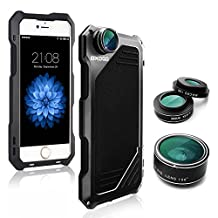 iPhone 5/5S/SE Camera Lens Kit, OXOQO 3 in 1 198° Fisheye Lens + 15X Macro Lens + Wide Angle Lens with Dustproof Shockproof Aluminum Case 4.0 Inches(Black)