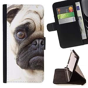 Momo Phone Case / Flip Funda de Cuero Case Cover - Pug Cara triste de los ojos de Pelo Corto perro Hocico; - LG G4 Stylus H540