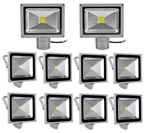 10X 50W Foco LED con Sensor Movimiento, Proyector LED Exterior de ...