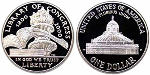 2000 Library of Congress Commemorative Proof Silver Dollar Coin In Box w// COA