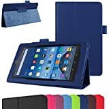 """Fire 7 5th Generation Case,Mama Mouth PU Leather Folio 2-folding Stand Cover with Stylus Holder for 7"""" Amazon Fire 7 Android Tablet 5th Generation 2015 release,Dark Blue"""