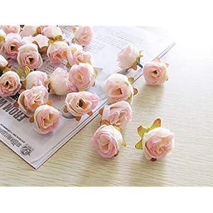 XGM GOU 100Pcs/Pack Solid Colors Small Tea Rose Heads Wholesale Cream Flower Buds Artificial Silk Flowers DIY Bouquets Home Decoration 7