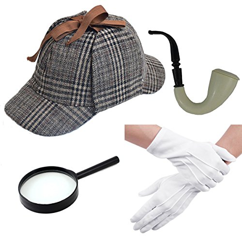 Jewelryfinds Cothes Adult Sherlock Holmes Costume Hat Glove