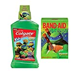 Colgate Kids Teenage Mutant Ninja Turtle Turtle Power Bubble Fruit Anticavity Fluoride Rinse, 16.9 fl oz Plus Bonus Band-Aid Brand TMNT Assorted Sizes Adhesive Bandages, 20 count