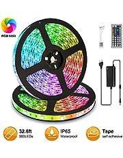 Elfeland LED Ruban 10m 5050 RGB 300 LEDs IP65 Étanche Bande LED Kit Bande Lumineuse RGB Flexible Multicolore Peut-Découpé Clignotant au Néon Decor Rubans Avec 44 Télécommande