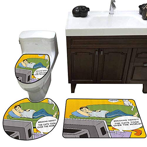 Elmos Closet Pop - 3 Piece Toilet Cover Set Vintage Man Lying on Couch Watching TV Cats Take Over World Comic Book Pop Art Illustration Non-Slip Soft Absorbent Bath Rug Multicolor
