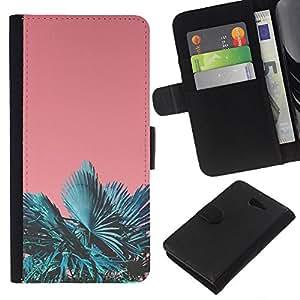 WINCASE Cuadro Funda Voltear Cuero Ranura Tarjetas TPU Carcasas Protectora Cover Case Para Sony Xperia M2 - Trópicos Miami trullo de durazno sol del verano