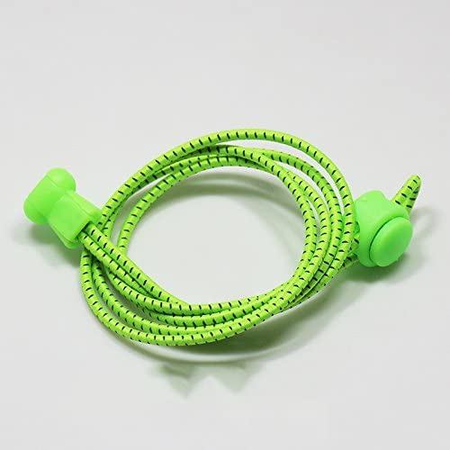edtaraロックレースストレッチShoestring forスニーカーno tie Elastic Shoelaces子供&大人蛍光グリーン
