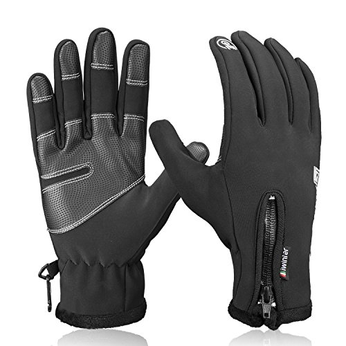Winter Gloves,Anqier Touch Screen Windproof Warm Hand Gloves Cycling Gloves for Men & Women (Black, X-Large)