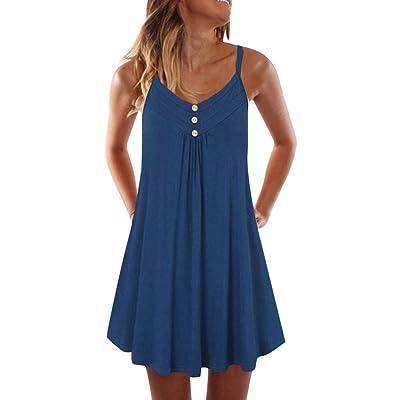 Fainosmny Summer Loose Dress for Women Plus Size Maxi Dress Casual Print Sleeveless Beach Dress Ladies Summer Sundress: Clothing