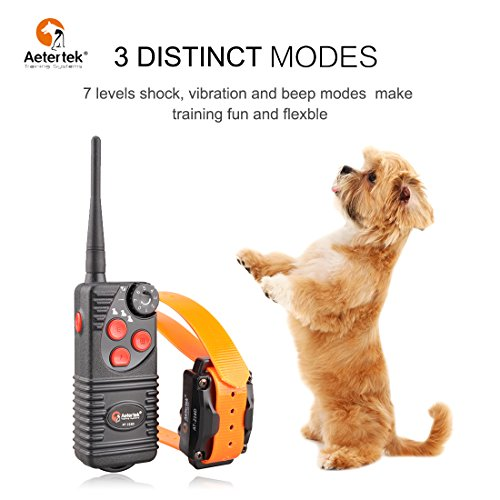 Aetertek No Bark Dog Collar Electric Anti Bark Shock Control with 7 Levels Adjustableshock Stimulation of No Harm Warning Beep and Vibration for 15-120 Pounds Dogs