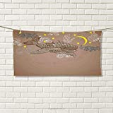 smallbeefly Whale Sports Towel Steampunk Whale Flying in The Air with Moons and Stars Artistic Hand Drawing Absorbent Towel Brown and White Size: W 12'' x L 35.5''
