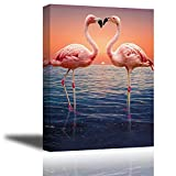 Pink Flamingo Wall Art for Bedroom, Romantic Lover Kiss on Sunset Ocean Canvas Painting Decor, Elegant Birds Picture,One Life-One Love,(Waterproof, Bracket Mounted Ready to Hang, 1'' Thick)