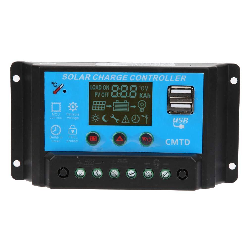 -20 ℃ ~ 60 ℃ Controlador de carga solar, 12V 24V Auto 20A Batería de plomo-ácido Controlador de carga solar Regulador PWM Salida dual USB 5V