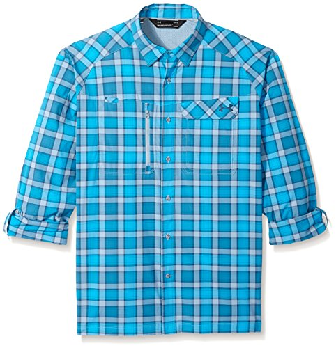 - Under Armour Men's Fish Hunter Plaid Long Sleeve Shirt, Solder (061)/True Ink, Large
