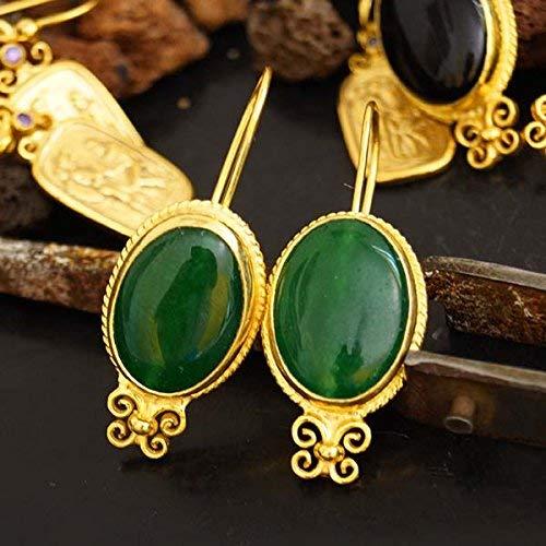 925 Silver Designer Jewelry Roman Art Green Jade Earrings 24k Gold Vermeil Omer