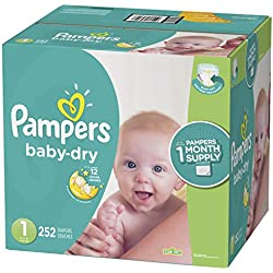 Pampers Baby Dry Disposable Diapers, Size 1, 252 Count, ONE MONTH SUPPLY
