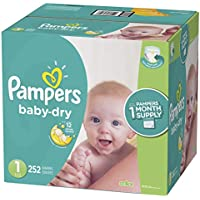 Pampers Baby Dry Disposable Baby Diapers, Size 1, 252...