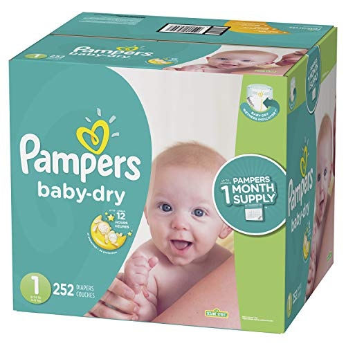Diapers Newborn / Size 1 (8-14 lb), 252 Count - Pampers Baby Dry Disposable Baby Diapers, ONE MONTH SUPPLY]()