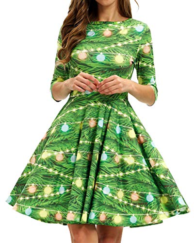 GLUDEAR Women's Half Sleeve Santa Christmas Xmas Gifts Print Flare Swing Dress,Xmas Lantern,S/M (Costumes Christmas)