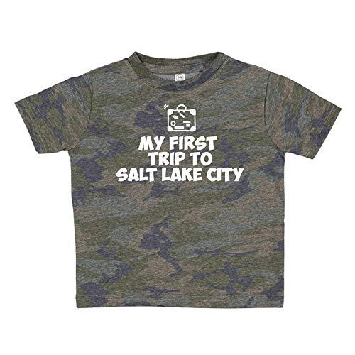 My First Trip to Salt Lake City - Toddler/Kids Short Sleeve T-Shirt (Vintage Camo 4T)