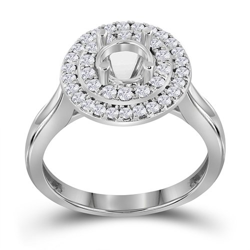 14K White Gold Round Semi Mount Ring (0.43 ctw, H-I Color, I2-I3 Clarity)