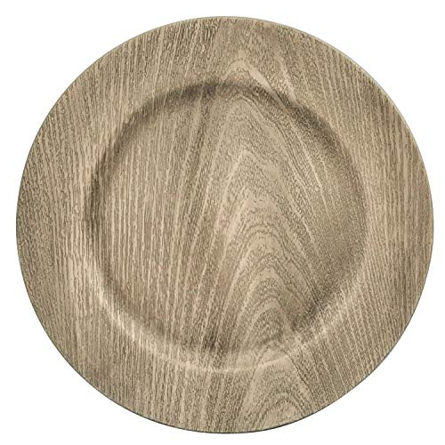 Plate Gift Box - Farmhouse Rustic Kitchen Faux Wood Charger Plates Set of 6 In Gift Box