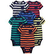 Simple Joys by Carter's Baby Boys' 6-Pack Short-Sleeve Bodysuit, Stripes, 0-3 Months