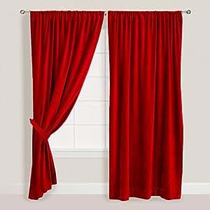 red velvet curtain 52 x 108 inch velvet curtain pair 108 inch velvet curtains red. Black Bedroom Furniture Sets. Home Design Ideas