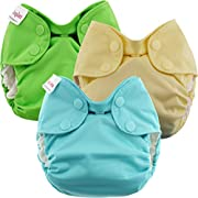 Blueberry Newborn Simplex All in One Cloth Diapers, Bundle of 3, Made in USA (Neutrals)