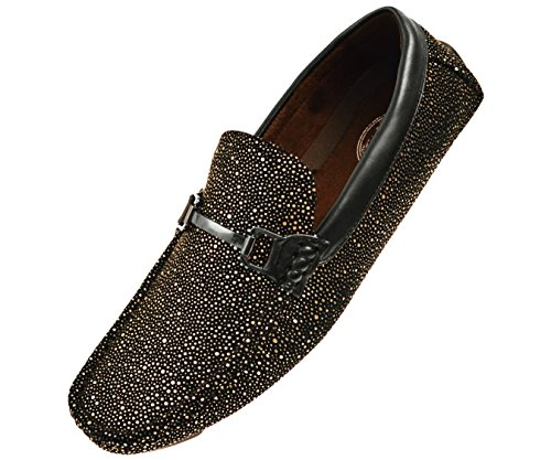Amali Mens Metallic Black Speckled Driving Shoe, Comfort Dress Driver Loafer, Style Brogan & ()