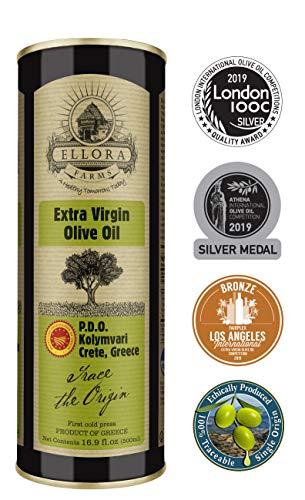 Ellora Farms | Single Estate (Kolymvari) Extra Virgin Olive Oil | Cold Pressed & Traceable | Certified PDO Koroneiki Olives, Crete, Greece | Kosher OU | BPA Free 17 Oz ()
