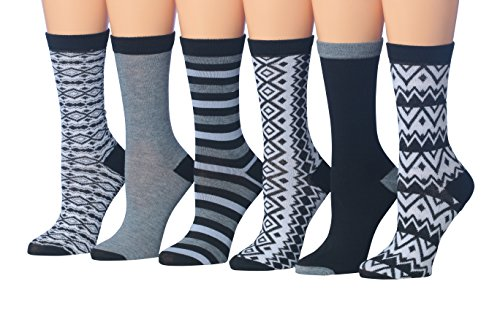 Tipi Toe Women's Ladies 6 Pairs Monochrome Patterned Black & White Winter Crew Dress Socks, (sock size 9-11) Fits shoe size 5-9, WC35-A