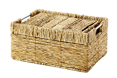 Set of 4 Storage Basket - Nesting Baskets Set in 3 Sizes - Decorative Wicker Corn Rope Home Organizer Bins, Brown (White Wicker Storage Baskets With Lids)