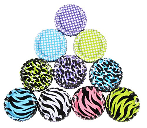 HipGirl 50pc 1 Flat Crown Bottle Caps For Hair Bows, Crafts, Pendants or Scrapbooks 10x5pc Double Sided Bottlecaps-Animal Prints, Zebra, Leopard and Polka Dots, 2 Sided
