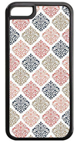 04-Colorful Damasks Pattern- Case for the APPLE IPHONE 5, ipod touch4-NOT THE ipod touch4!!!-Hard Black Plastic Outer Case with Tough Black Rubber Lining